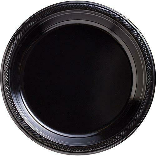 Big Party Pack Black Plastic Dinner Plates 50ct
