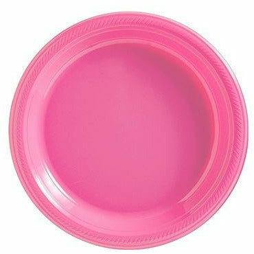 Big Party Pack Bright Pink Plastic Dessert Plates 50ct