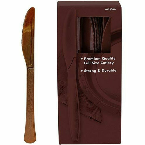 Big Party Pack Chocolate Brown Premium Plastic Knives 100ct