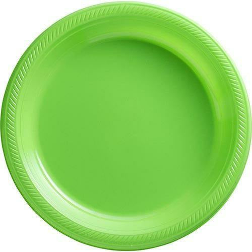 Big Party Pack Kiwi Green Plastic Dinner Plates 50ct
