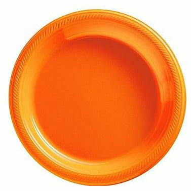 Big Party Pack Orange Plastic Dessert Plates 50ct