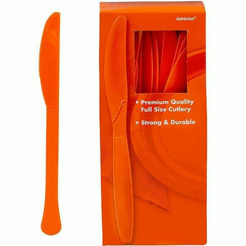 Big Party Pack Orange Premium Plastic Knives 100ct