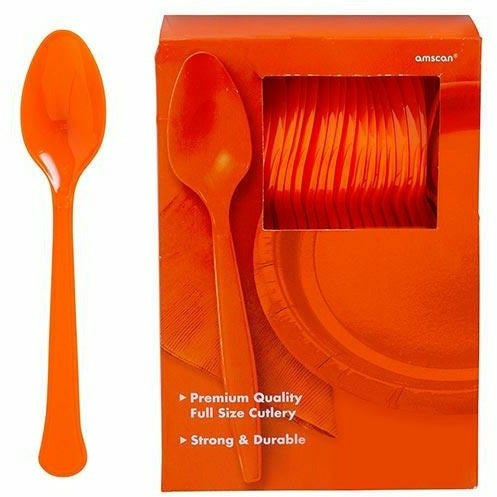 Big Party Pack Orange Premium Plastic Spoons 100ct