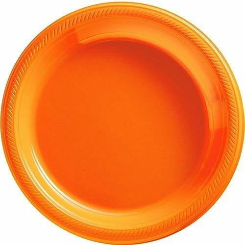 Big Party Pack Orange Plastic Dinner Plates 50ct