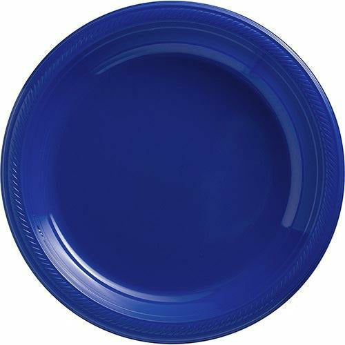 Big Party Pack Royal Blue Plastic Dinner Plates 50ct
