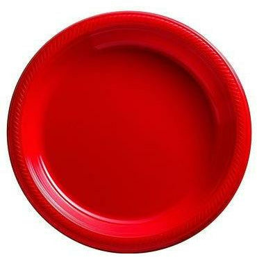 Big Party Pack Red Plastic Dessert Plates 50ct