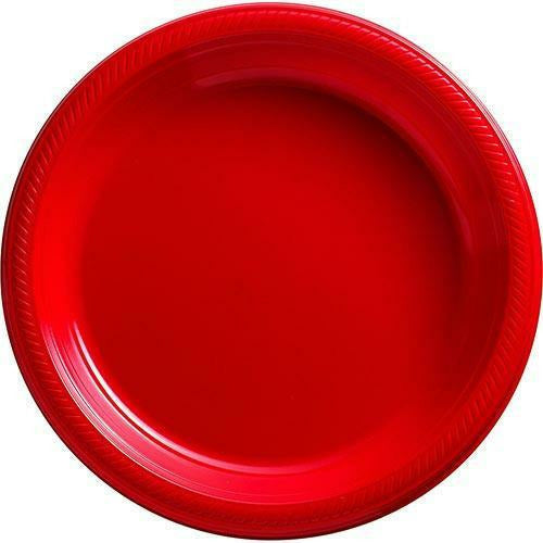 Big Party Pack Red Plastic Dinner Plates 50ct
