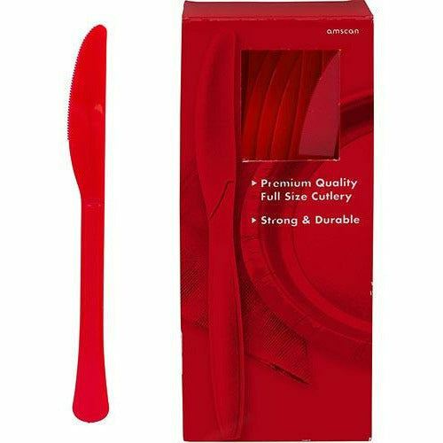 Big Party Pack Red Premium Plastic Knives 100ct
