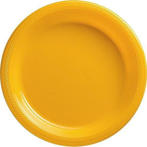 Big Party Pack Sunshine Yellow Plastic Dinner Plates 50ct