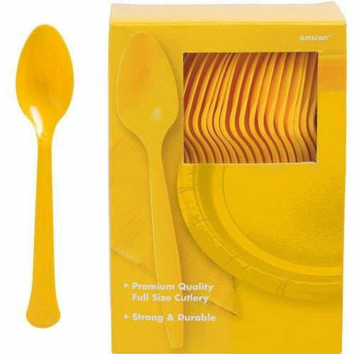 Big Party Pack Sunshine Yellow Premium Plastic Spoons 100ct
