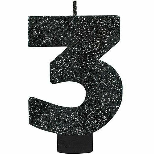 Glitter Black Number 3 Birthday Candle