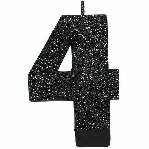 Glitter Black Number 4 Birthday Candle