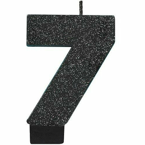 Glitter Black Number 7 Birthday Candle
