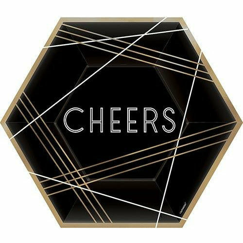 Black, Gold & White Cheers Hexagon Lunch Plates 8ct