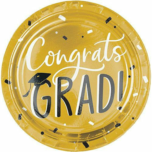 Black & Gold Hats Off Graduation Paper Dinner Plates, 10.5in, 8ct