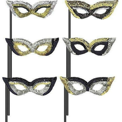 Black, Gold & Silver Masquerade Masks 6ct