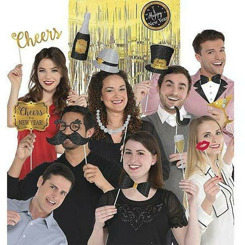 Black, Gold & Silver New Year's Photo Booth Kit 21pc