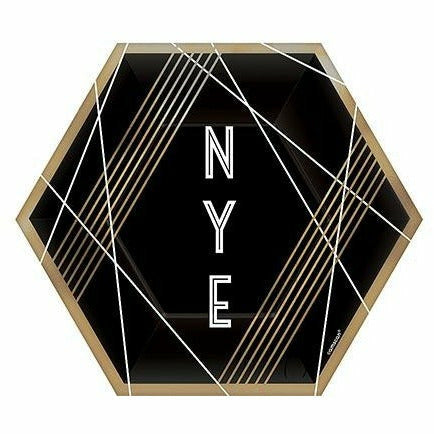 Black, Gold & White NYE Hexagon Dessert Plates 8ct