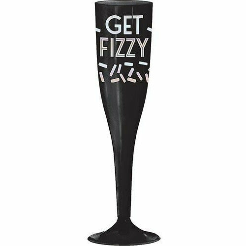 Black & Iridescent Get Fizzy Plastic Champagne Flutes 16ct