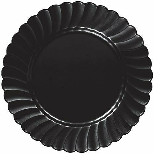Black Premium Plastic Scalloped Dinner Plates 12ct