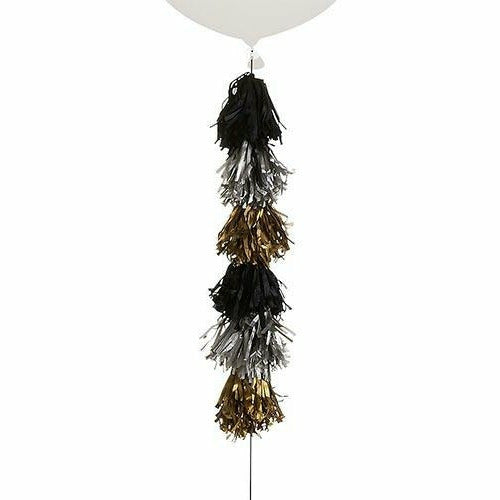 Black, Silver & Gold Tassel Balloon Weight Tail
