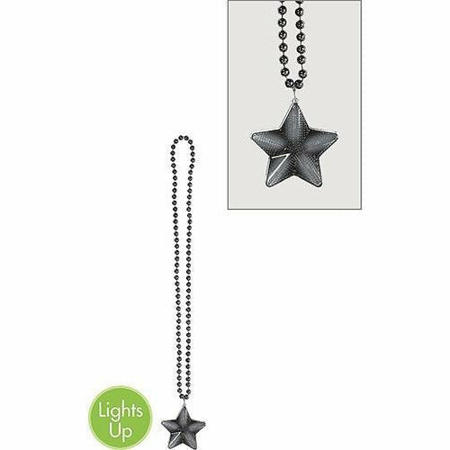 Light-Up Black Star Pendant Bead Necklace