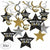 Black, Gold & Silver Graduation Swirl Decorations 30ct