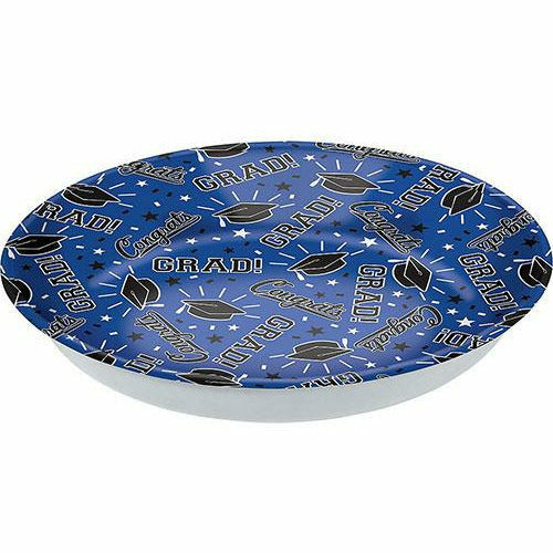 Blue Congrats Grad Serving Bowl