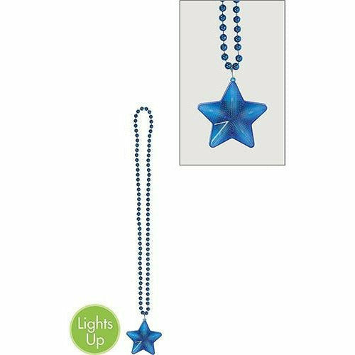 Light-Up Blue Star Pendant Bead Necklace