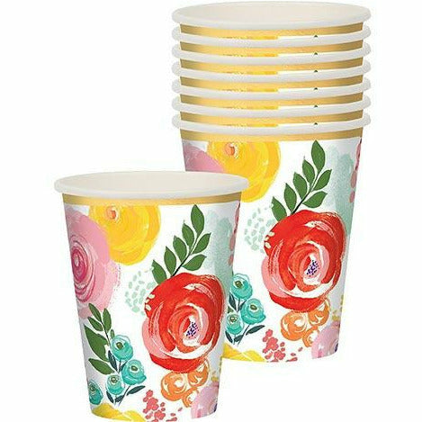 Bright Floral Cups 8ct