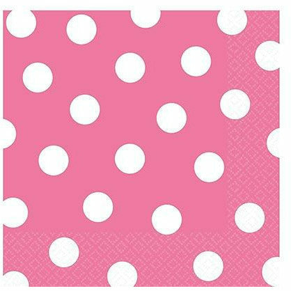 Bright Pink Polka Dot Lunch Napkins 16ct
