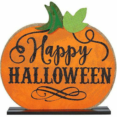Burlap Halloween Pumpkin Table Sign