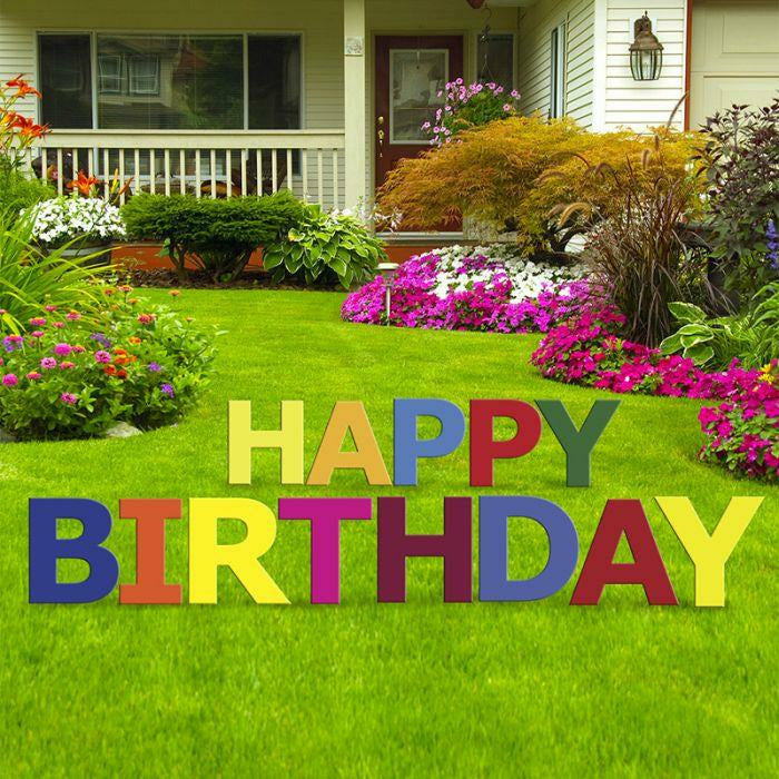 Happy Birthday Multi-Color Yard Sign Set