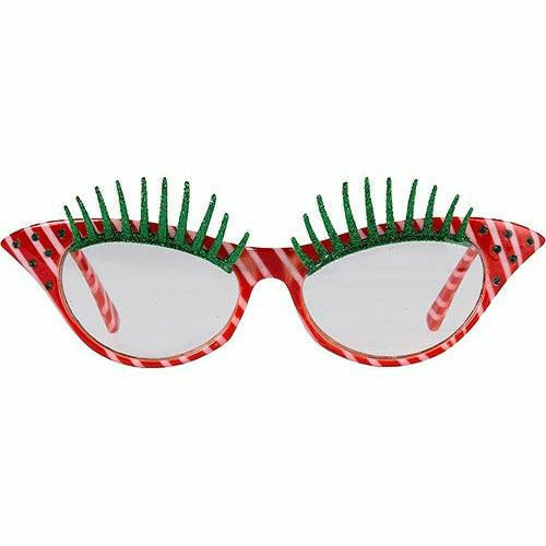 Candy Cane Eyelash Glasses