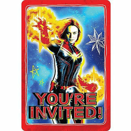 Captain Marvel Invitations 8ct