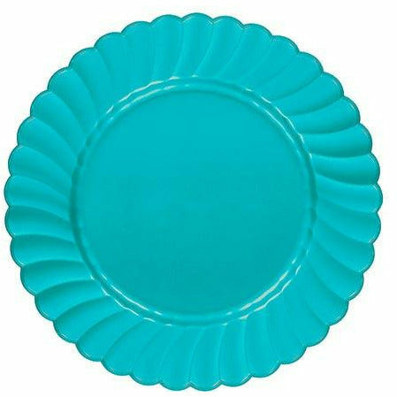 Caribbean Blue Premium Plastic Scalloped Lunch Plates 12ct