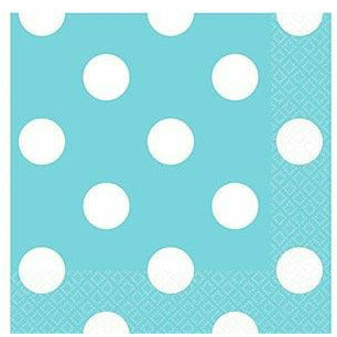 Caribbean Blue Polka Dot Beverage Napkins 16ct