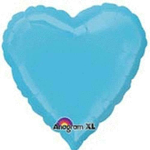 "042 Caribbean Blue HX Heart 19"" Mylar Balloon"
