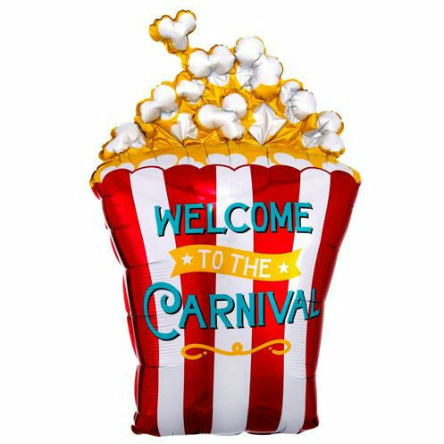 "D009 Popcorn Welcome to the Carnival Jumbo 29"" Mylar Balloon"