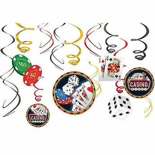 Roll the Dice Casino Swirl Decorations 12ct