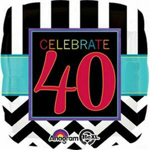 "E009 Celebrate 40 Birthday 17"" Mylar Balloon"