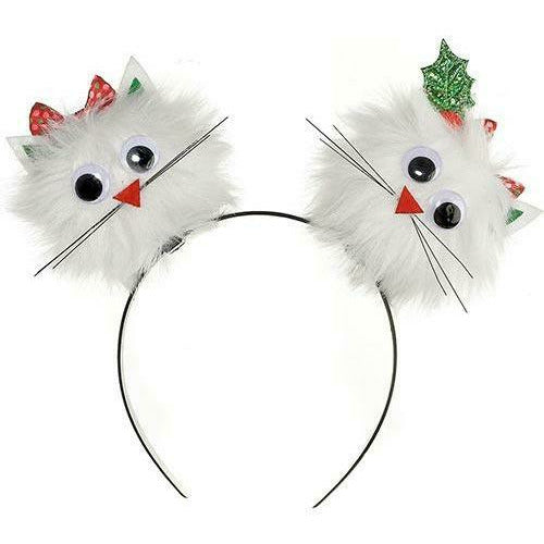 Child Christmas Cat Pom-Pom Headband