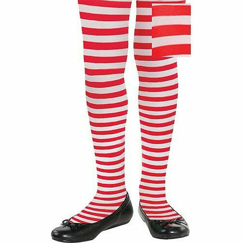Child Red & White Striped Tights