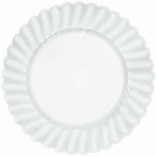 CLEAR Premium Plastic Scalloped Dinner Plates 12ct