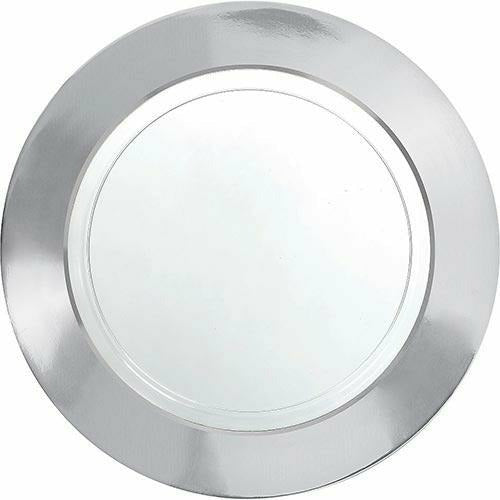 CLEAR Silver Border Premium Plastic Dinner Plates 10ct
