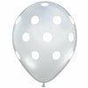 "White Polka Dots Clear 11"" Latex Balloon"