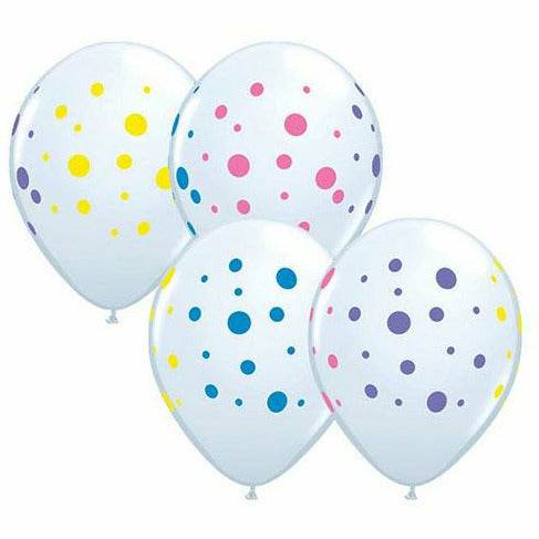 "Colorful Polka Dots Mixed Assortment White 11"" Latex Balloon"