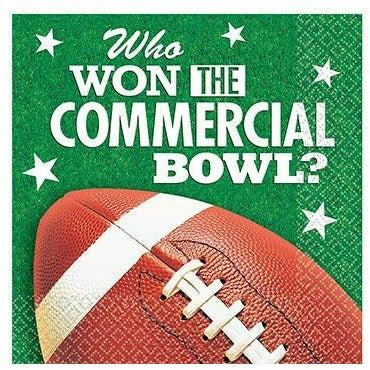 Commercial Bowl Football Beverage Napkins 16ct