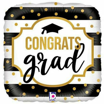 "Congrats Grad Black White Stripes 18"" Mylar Balloon"