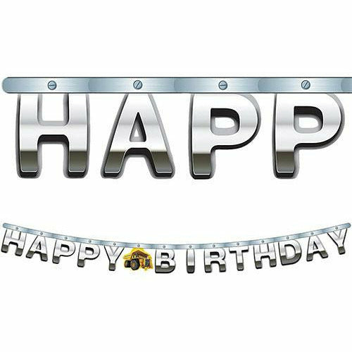 Metallic Construction Zone Birthday Banner